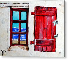 Red Shutter Ocean Acrylic Print