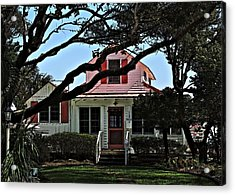 Acrylic Print featuring the photograph Red Shutters Cottage by Laura Ragland