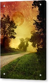 Red Sky Along Starry Pathway Acrylic Print by Christina Rollo