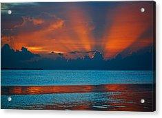 Tropical Florida Keys Red Sky At Night Acrylic Print
