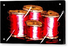 Acrylic Print featuring the drawing Red Spools 3 by Joseph Hawkins