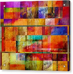 Red Squares Abstract Art Acrylic Print by Ann Powell