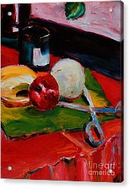 Red Still Life Acrylic Print by Janet Felts