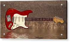 Red Strat 3 Acrylic Print by WB Johnston
