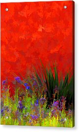 Red Stucco Wall Acrylic Print