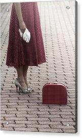 Red Suitcase Acrylic Print by Joana Kruse