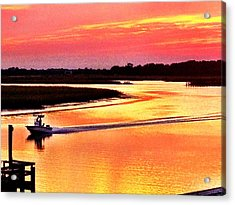 Red Sun On The Water Acrylic Print