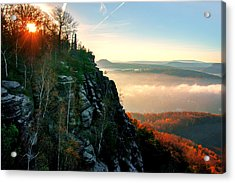 Red Sun Rays On The Lilienstein Acrylic Print