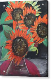 Red Sunflowers Acrylic Print
