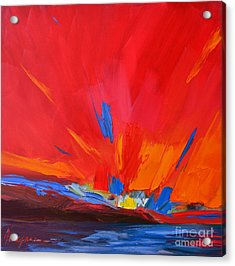 Red Sunset Modern Abstract Art Acrylic Print by Patricia Awapara