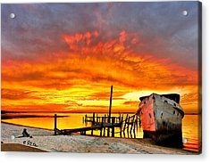 Red Sunset - Beached Ship At Sunset Acrylic Print by Eszra Tanner