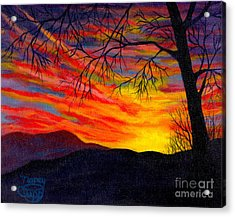 Acrylic Print featuring the painting Red Sunset by Nancy Cupp