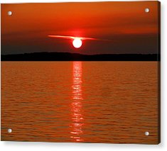 Acrylic Print featuring the photograph Red Sunset Over Bellingham Bay by Karen Molenaar Terrell