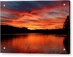 Red Sunset Reflections Acrylic Print