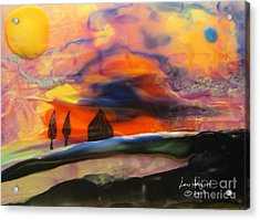 Red Sunset With Building Acrylic Print
