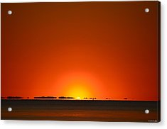 Acrylic Print featuring the photograph Red Sunset With Superior Mirage On Santa Rosa Sound by Jeff at JSJ Photography