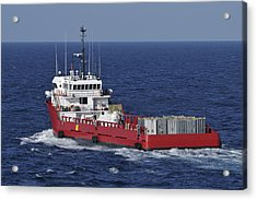 Red Supply Vessel Acrylic Print by Bradford Martin