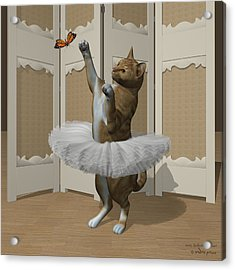 Red Tabby Ballet Cat On Paw-te Acrylic Print by Andre Price