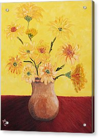 Red Table And Yellow Flowers Acrylic Print