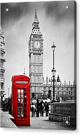 Red Telephone Booth And Big Ben In London Acrylic Print