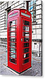 Red Telephone Box Call Box In London Acrylic Print by Tom Conway