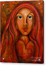 Red Thread Madonna Acrylic Print by Deborha Kerr