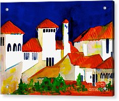 Acrylic Print featuring the painting Red Tiles And Blue Skies by Nan Wright