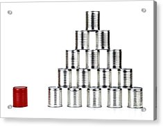 Red Tin Can Beside A Pyramid Acrylic Print