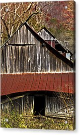 Red Tin Roof Acrylic Print by Debra and Dave Vanderlaan