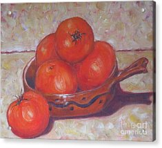 Red Tomatoes In A Dish Acrylic Print by Paris Wyatt Llanso