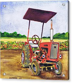 Acrylic Print featuring the painting Red Tractor At Rottcamp's Farm by Susan Herbst