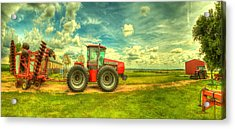 Red Tractor Farm Acrylic Print by  Caleb McGinn