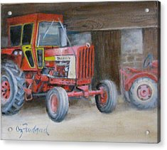 Acrylic Print featuring the painting Red Tractor by Oz Freedgood