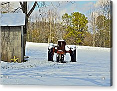 Red Tractor Acrylic Print by Susan Leggett