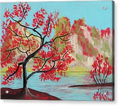 Red Trees Acrylic Print by Anastasiya Malakhova