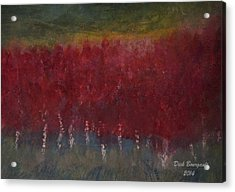 Red Trees Watercolor Acrylic Print by Dick Bourgault