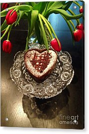 Red Tulip And Chocolate Heart Dessert Acrylic Print
