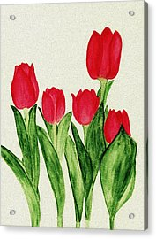 Red Tulips Acrylic Print by Anastasiya Malakhova