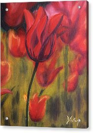 Acrylic Print featuring the painting Red Tulips by Donna Tuten