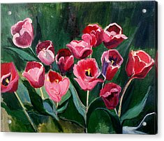 Red Tulips In A Baker's Dozen Acrylic Print by Betty Pieper