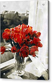 Red Tulips In Window Acrylic Print by Linda  Parker