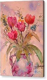 Red Tulips Acrylic Print by Jessamine Barron