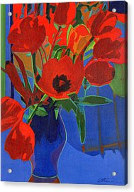 Red Tulips On Blue  Acrylic Print