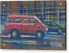 Acrylic Print featuring the painting Red Van by Donald Maier
