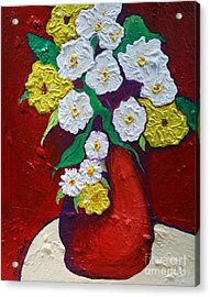 Red Vas With Yellow And White Flowers Acrylic Print