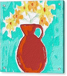 Red Vase Of Flowers Acrylic Print by Linda Woods