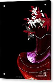Red Vase Acrylic Print by Ann Calvo