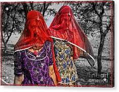 Red Veils In Rajasthan Acrylic Print