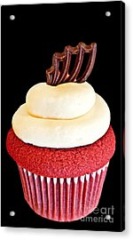 Red Velvet Cupcake On Black Acrylic Print
