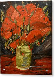 Red Velvet Acrylic Print by Louise Burkhardt